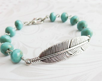 Blue feather bracelet, turquoise bohemian beaded bracelet, feather jewelry, boho jewelry, gift for her, mom gift, wife gift