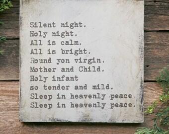 Christmas Sign, Silent Night Sign, Christmas Wall Sign, Seasonal Decor, Modern Farmhouse Christmas Decor, White Christmas, Christmas Signs
