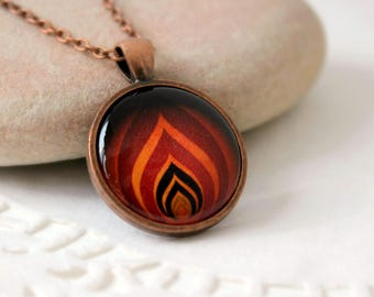 Levels of Flame Pendant   Antique Copper Necklace   Fire and Flames Jewelry   Symbolic Jewelry   Personalized Pendant   Vector Fire