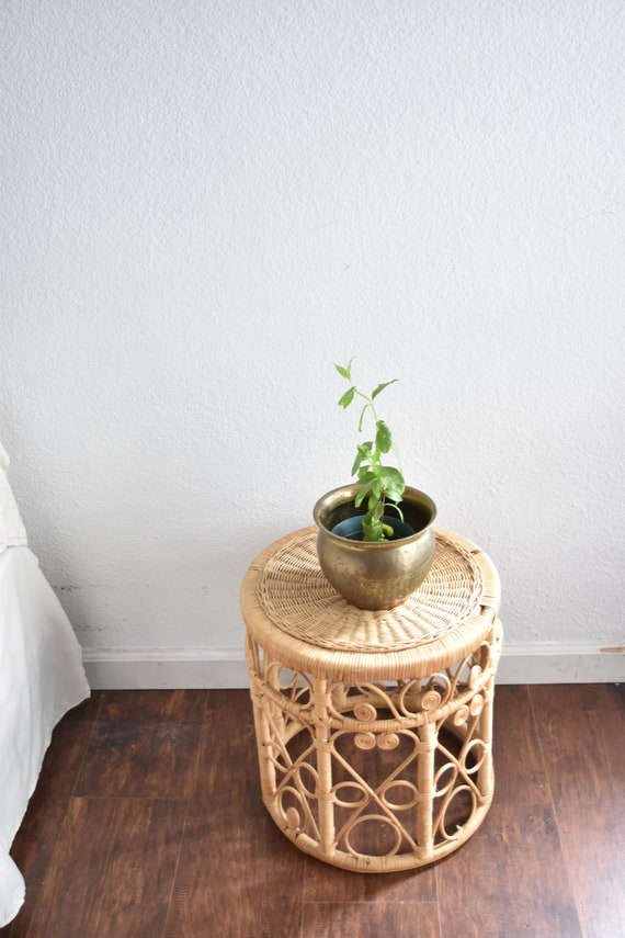 mid century peacock woven bamboo rattan wood wicker side table plant stand