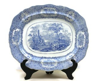 Large Serving Platter - Blue and White Transferware Platter, Romantic English Staffordshire, Oriental by Ridgways, c1890s