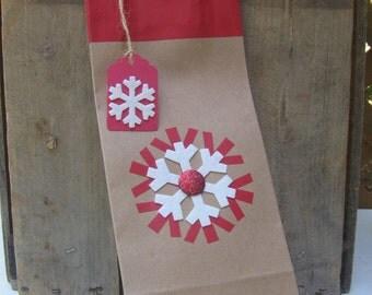 Embellished Bottle Gift Bag / Christmas Bottle Bag / Kraft Brown Bag / Red Snowflake Bag / Gift Wrap / Bag for Bottle Gift / Gift Tag