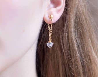Raw Diamond Drop Earrings, Dainty Gemstone Earring, Bridesmaid Gift, Gold Stud and Chain Earrings, Minimalist Jewelry, Natural Diamond Stone