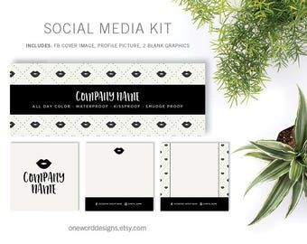 Minimal Cream and Black LipSense - Social Media Kit