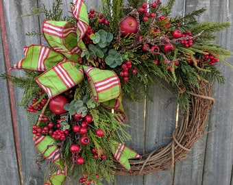 Christmas Door Wreath, Christmas Wreath with Apples, Berries, Grapevine Wreath, Realistic Wreath, Natural Holiday Decor, Etsy Wreath