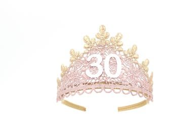 NEW Birthday Sage lace TIARA ||  blush + rose gold || 21st 30th 40th 50th || adult cake smash tiara || Love Crush Exclusive || Ready to Ship