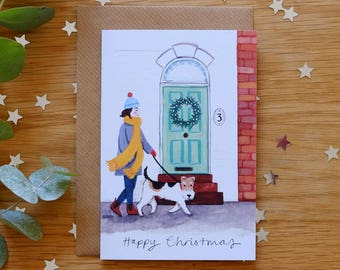 Wire Fox Terrier Winter Illustrated Christmas Card