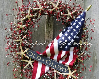 Patriotic Wreath, Americana Wreath, 4th of July Wreath, Seashell Wreath, Patriotic Beach Cottage Wreath, Flag Wreath, Coastal Wreath