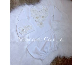 Newborn Girl Coming Home Outfit, Newborn Girl Gown, Ivory Lace Baby Coming Home Outfit, Baby Girl Take Home Outfit, Victorian Baby Layette
