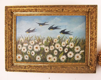antique oil on canvas,oil painting,bird painting,flowers,floral,Victorian landscape,DAISIES,SWALLOWS,wall art,circa 1900