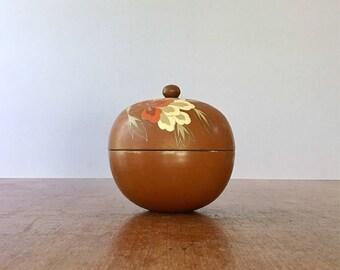 Vintage Marked Japanese Rust Orange Lacquerware Box - Floral Decor