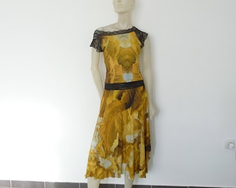 Sale Stunning Mustard golden Milonga Tango 2pcs Dress  US 4 and 6 Dance Argentine Tango Swirl Print Tango Robe / Jupe