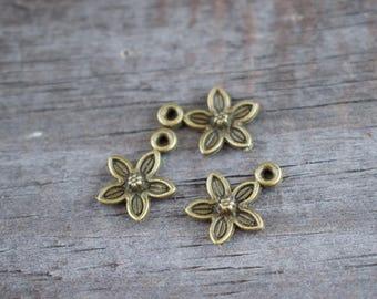 12 Antiqued Bronze Plum Blossom Flower Charms 14mm
