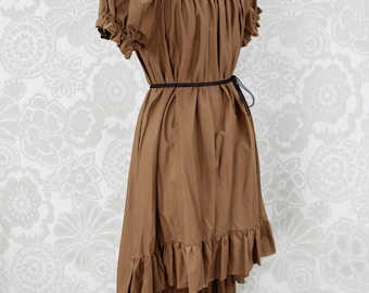 "Steampunk Ragamuffin Dress with Cora Sleeves in Honey Cotton -- Size Medium, Fits Bust 36""-42"" -- Ready to Ship"