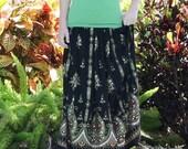 Black Maxi Skirt, Sequined Gypsy Skirt, Clothing, Long Indian Skirt, Boho Festival Skirt, Bohemian Clothing, Bollywood Belly Dance Skirt