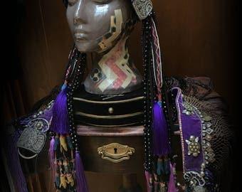 Tribal Fusion Headdress with Tassels Tribal Fusion Tassel Headpiece Art Nouveau Head Piece Tribal Belly Dance Headdress Black Purple Silver
