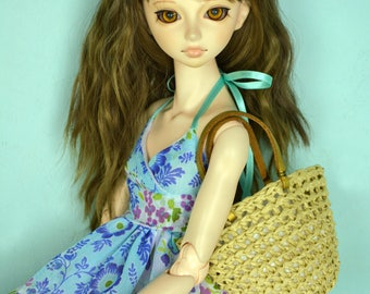 BJD MSD Obitsu SD 1/4 1/3 Doll Accesories: Raffia bag with golden leather straps for doll
