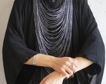 Multi-Strand Black fabric Necklace - Contemporary statement necklace Textile jewelry african necklace