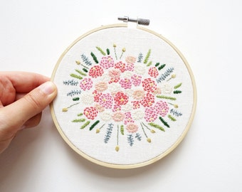 Peonies and Daisies Bouquet - Embroidery Hoop Art - 5 inches wide