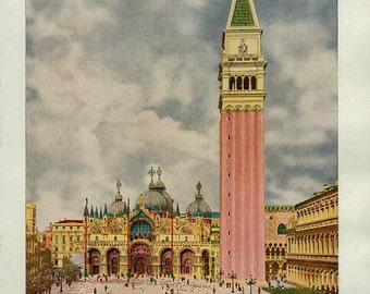 1920 VENICE St Mark's Cathedral and Campanile Print, photogravure art print, 98 years old Italy