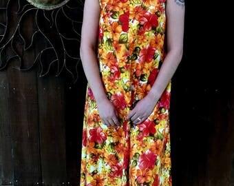 Vintage 1960's Hawaiin Dress, Richard Douglas Honolulu Hawaiin Dress, Bold Floral Hawaiin Dress