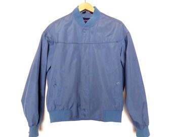 Vintage Men's Carl Michaels Polyester Bomber Dusty Blue Size 42 Medium Large