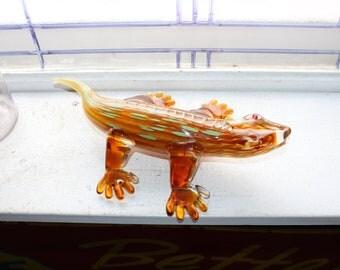 Large Vintage Art Glass Lizard Figurine
