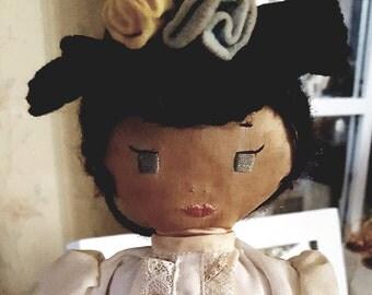 "Vintage Cloth doll  16"" Parisian woman"
