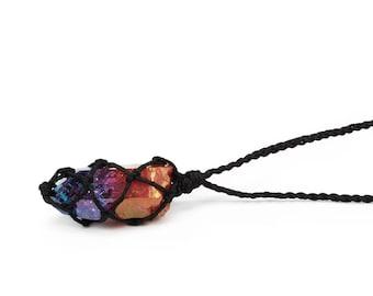 Aura quartz necklace, hybrid aura quartz, rose aura quartz necklace, tanzine aura quartz necklace, raw crystal necklace, healing necklace