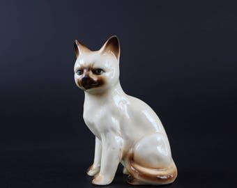 Vintage Ceramic Siamese Cat Figurine - Miniature Cat Collectible
