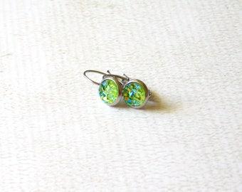 Green Druzy Drop Earrings - Faux Stone Minimalist
