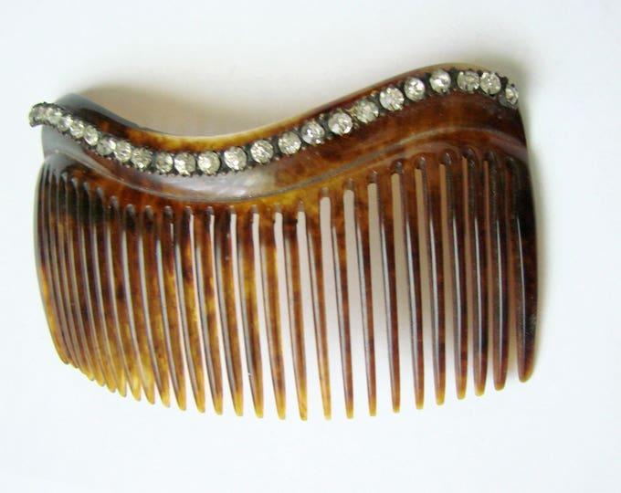 Vintage Faux Tortoiseshell Jeweled Rhinestone Decorative Curved Hair Comb / Vintage Hair Accessory