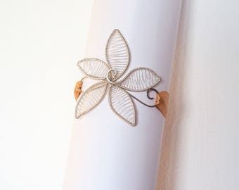 Silver tone arm band flower wire wrapped Wedding Bridal armband arm cuff jewelry gifts nature