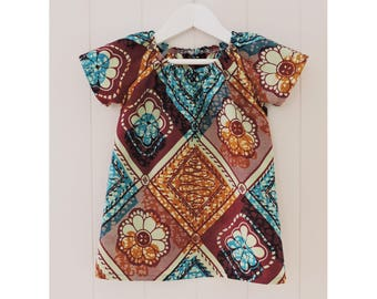 Babies Dress, Size 1, African wax cotton fabric, Handmade, Tribal, Cotton, Dezignhub, Australian Made, Babies Cotton Dress