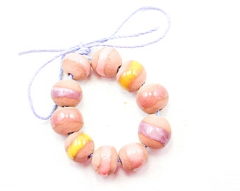 10 Handcrafted Ceramic Beads - Pastel - Unique Assortment - Earthy - Striped- Handmade - Round- Pottery beads - Brownstone - Bead Set  Y479