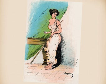 Billiard Lady With A Pool Cue & Two Balls New 4x6 Vintage Image Photo Print RA73