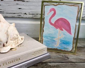 Framed Watercolor Flamingo Painting/Framed Coastal Gallery Wall Art/Beach House Art