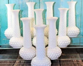 10 Hobnail Milk Glass Vases, EO Brody, Centerpiece, Bud Vases, Decor, Collection, lot, wedding, shower, shabby chic, mid century, vintage