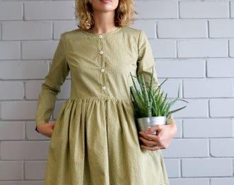 Poplin Dress - Tiny Leaf Print Dress - Cotton Poplin Dress - Long Sleeve Dress - Vintage Dress - Handmade by OFFON