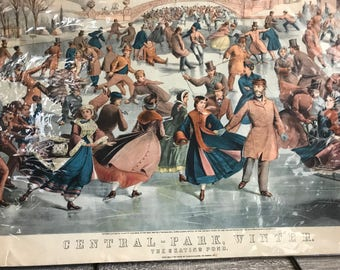 Antique Currier and Ives Lithograph, Central Park Winter