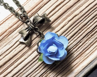 Bronze and Blue Paper Rose Necklace