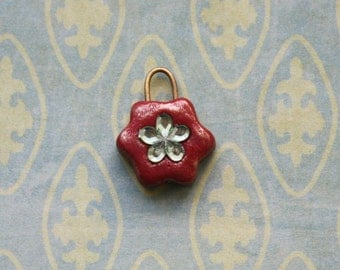 Polymer Clay Red Flower Pendant for Dollfie BJD MSD