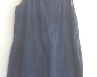 1970's denim overall dress