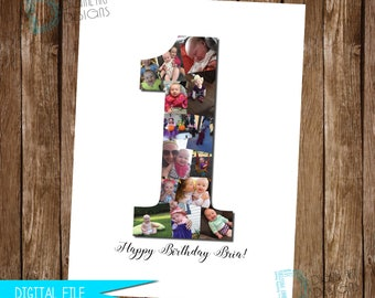 Number Photo Collage, Birthday Photo Collage, Custom Photo Collage, Anniversary Photo Collage, Baby Photo Collage, Anniversary Gift