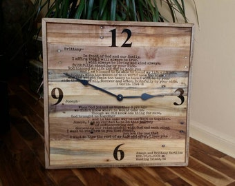 """Huge personalized wedding vow clock, anniversary clock, laser engraved vows, rustic home decor, 20"""" wall clock, reclaimed pallet wood clock"""