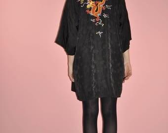 Vintage Black Satin Embroidered Dragon Asian Kimono One Size