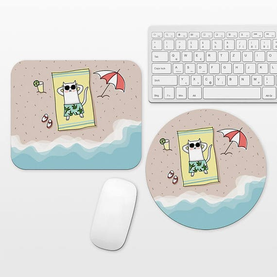 Beach Mouse Pad Tropical Mouse Pad, Aerial Beach Mousepad Cat Mouse Pad, Summer Beach Desk Decor Office Accessories, Cute Cool Fun Mousepad