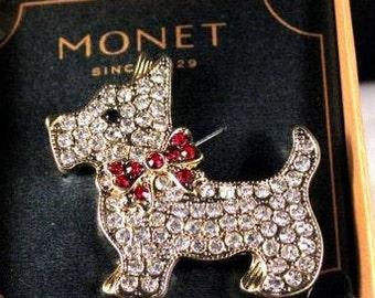 Monet Terrier Dog Pin - Silver Tone with Crystals - S1999