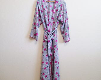 Floral Satin Robe Petite Mary McFadden Collection I