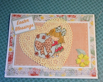 Easter Blessings Handmade Greeting Card - Paper Pieced Stamp of Girl holding Easter Egg